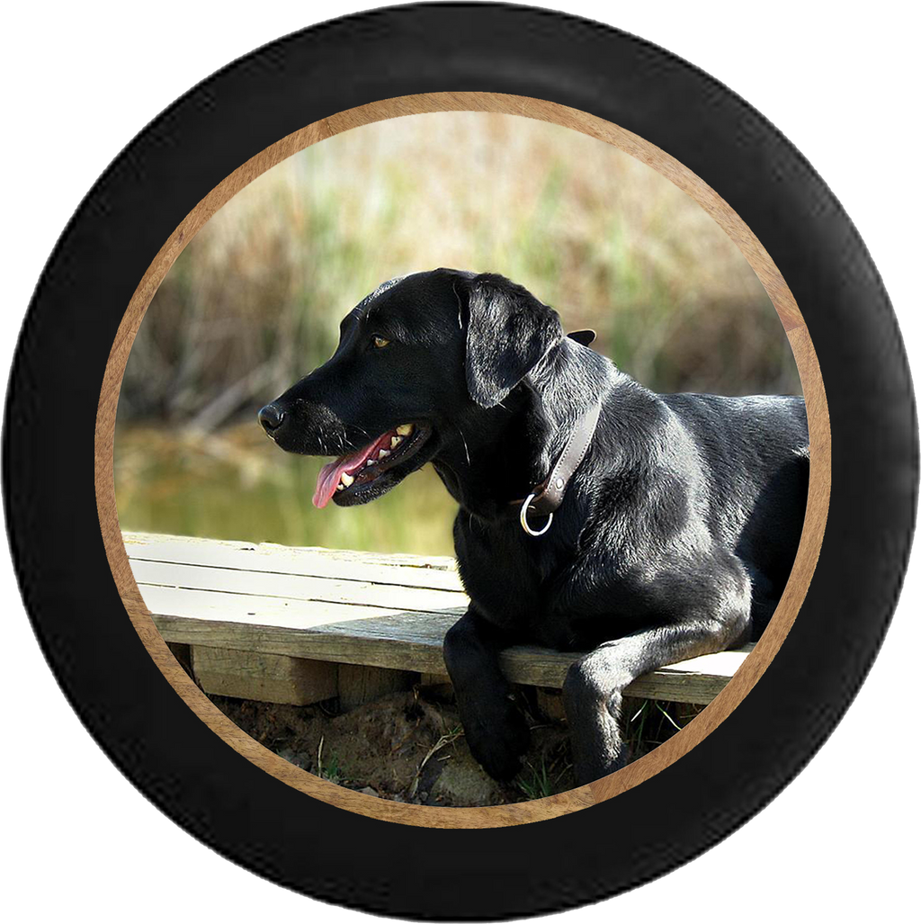 Black Lab Retriever Hunting Dog on the Dock Jeep Camper Spare Tire Cover BLACK-CUSTOM SIZE/COLOR/INK- R177 - TireCoverPro