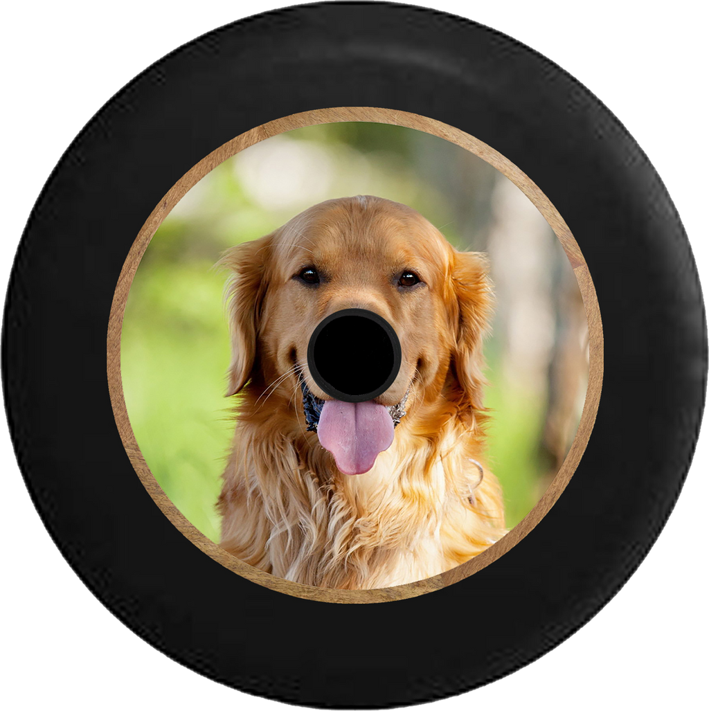 Jeep Wrangler JL Backup Camera Golden Lab Retriever Hunting Dog - Man's Best Friend Jeep Camper Spare Tire Cover 35 inch R178