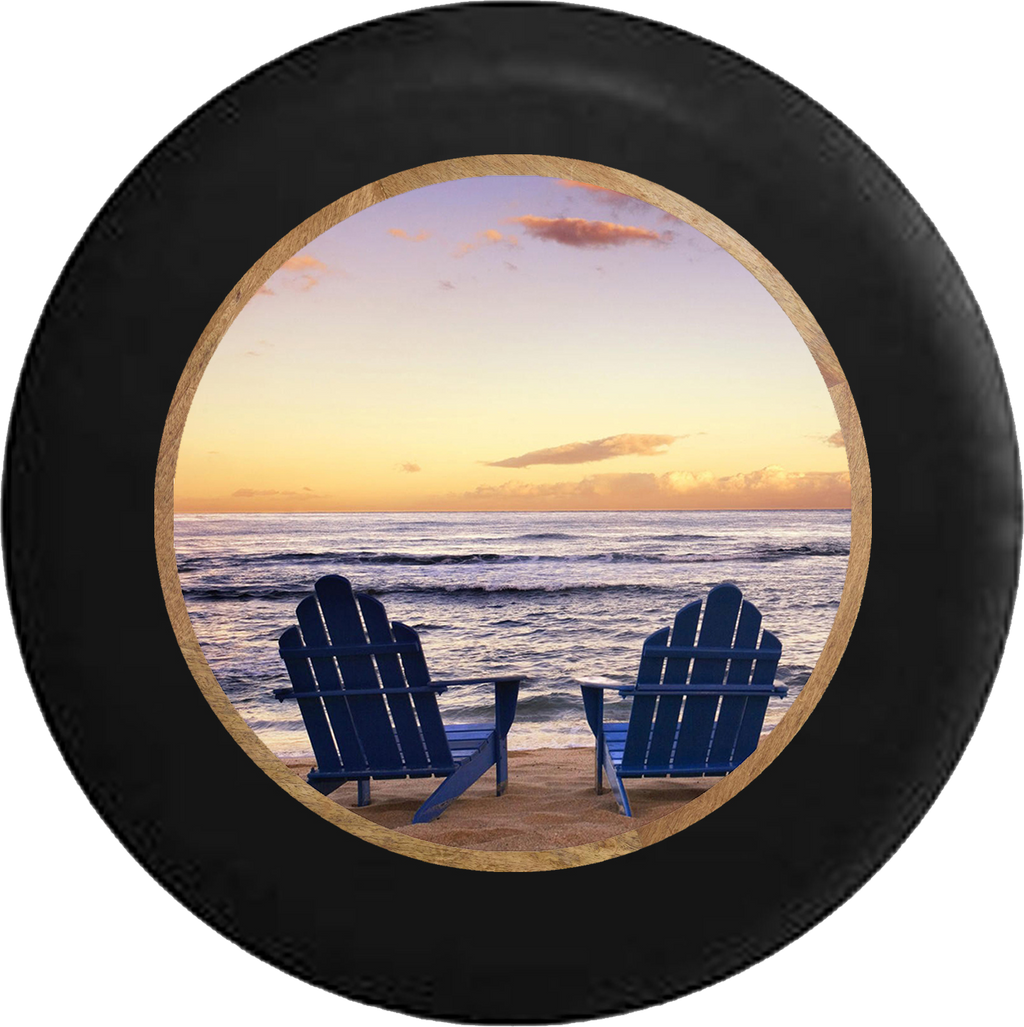 Jeep Liberty Tire Cover With Blue Beach Chairs (Liberty 02-12) - TireCoverPro