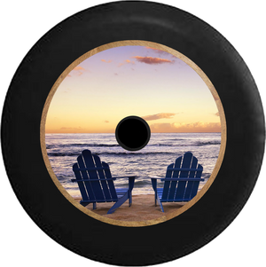 Jeep Wrangler JL Backup Camera Blue Beach Chairs Overlooking Sunset Lake Jeep Camper Spare Tire Cover 35 inch R179