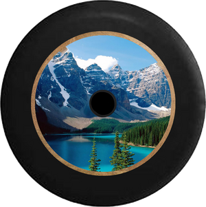Jeep Wrangler JL Backup Camera Mountain River Valley Lake Scene Wooded Pines Jeep Camper Spare Tire Cover 35 inch R180
