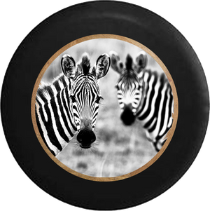 Zebra Pair Gorgeous Striped Faces Jeep Camper Spare Tire Cover BLACK-CUSTOM SIZE/COLOR/INK- R185 - TireCoverPro