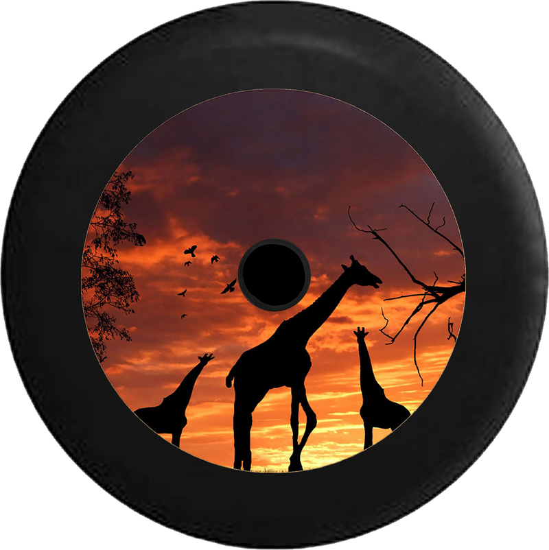 Jeep Wrangler JL Backup Camera Silhouette Giraffes Sunset Sunrise African Safari Sahara Jeep Camper Spare Tire Cover 35 inch R194
