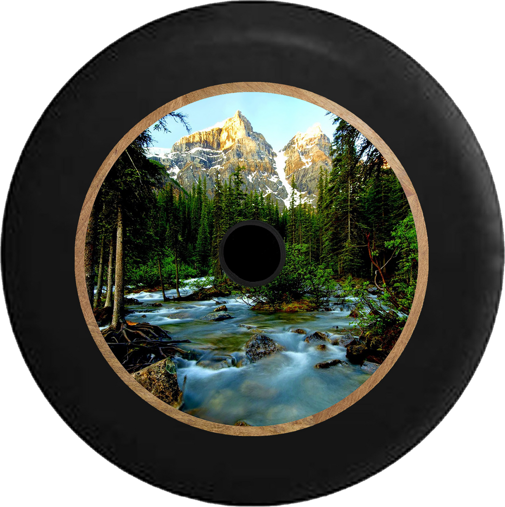 Jeep Wrangler JL Backup Camera Pine Forest with Mountain Backdrop Flowing Stream Jeep Camper Spare Tire Cover 35 inch R199