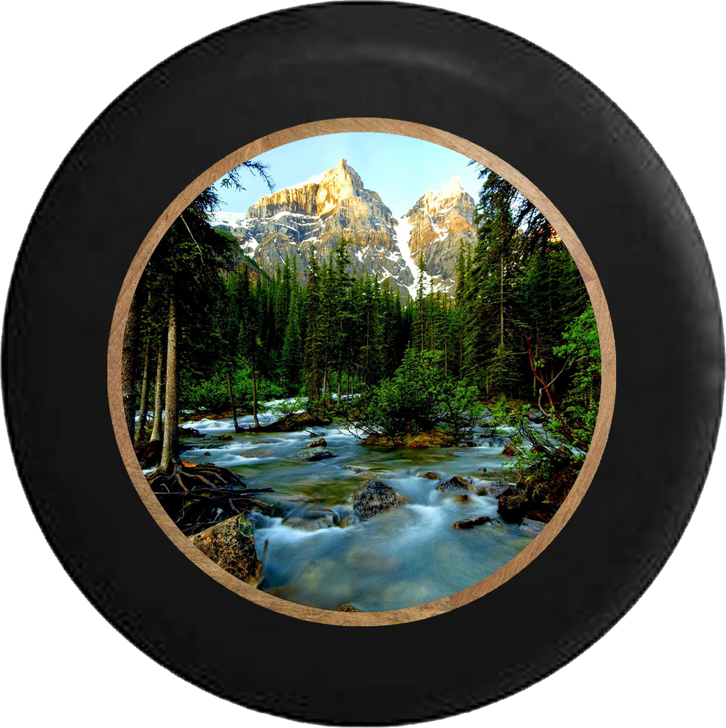 Pine Forest with Mountain Backdrop Flowing Stream Jeep Camper Spare Tire Cover BLACK-CUSTOM SIZE/COLOR/INK- R199 - TireCoverPro