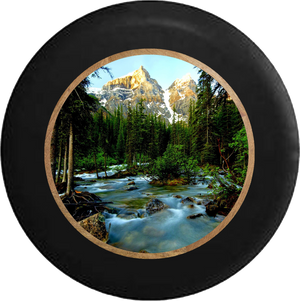 Pine Forest with Mountain Backdrop Flowing Stream Jeep Camper Spare Tire Cover 35 inch R199