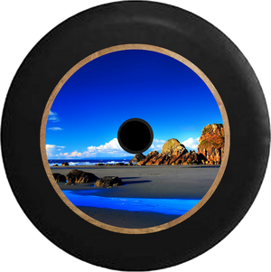 Jeep Wrangler JL Backup Camera Carribean Beach Bright Blue Sky and Water Jeep Camper Spare Tire Cover 35 inch R200
