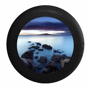Stone Path into the Foggy Ocean Water Scenic Sky RV Camper Spare Tire Cover-BLACK-CUSTOM SIZE/COLOR/INK - TireCoverPro