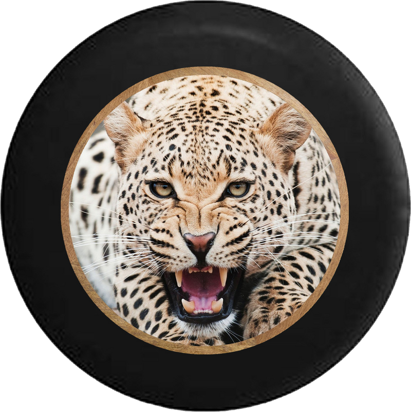 Leopard Cheetah Growling in the Jungle Big Cat Jeep Camper Spare Tire Cover 35 inch R202