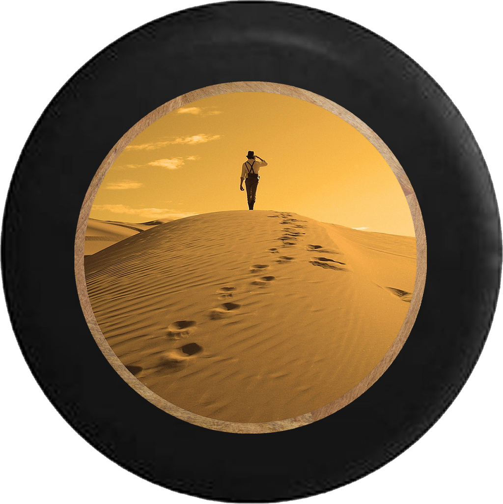 Desert Walk thru the Sahara to the Oasis Jeep Camper Spare Tire Cover BLACK-CUSTOM SIZE/COLOR/INK- R204 - TireCoverPro