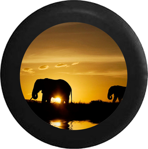 Silhouette Elephants over the African Sahara Wildlife Jeep Camper Spare Tire Cover 35 inch R205