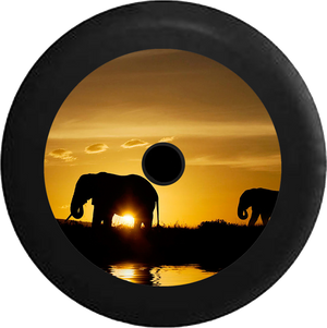 Jeep Wrangler JL Backup Camera Silhouette Elephants over the African Sahara Wildlife Jeep Camper Spare Tire Cover 35 inch R205