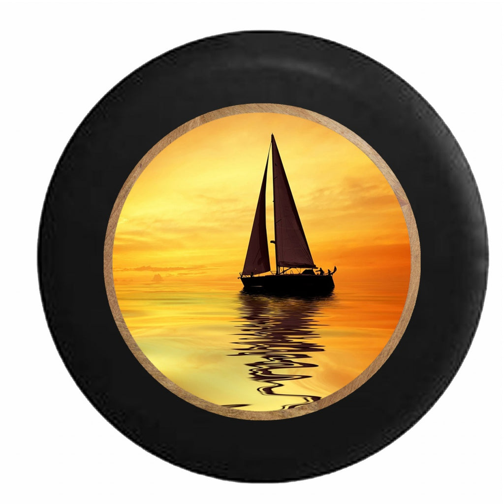 Sailboat at Sunset Ocean Salt Water Breeze RV Camper Spare Tire Cover-35 inch