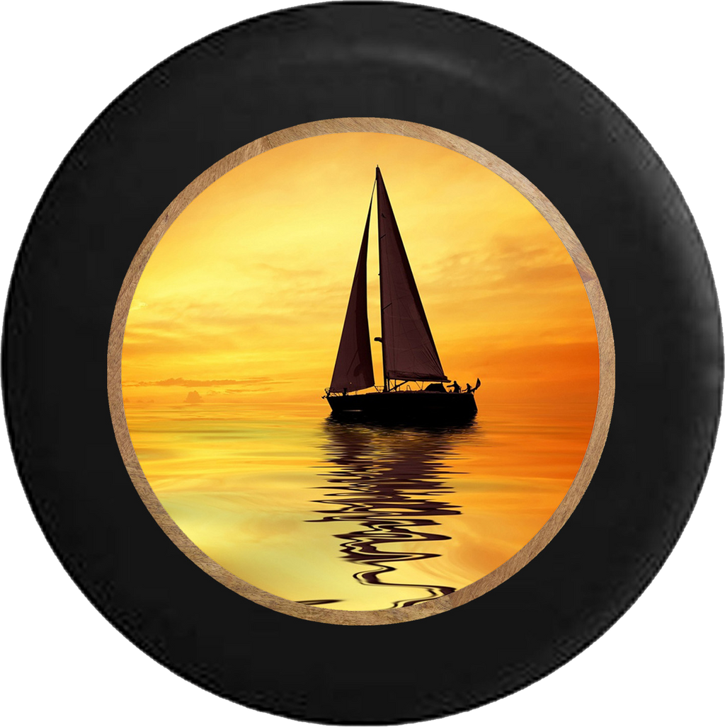 Sailboat at Sunset Ocean Salt Water Breeze RV Camper Spare Tire Cover-BLACK-CUSTOM SIZE/COLOR/INK