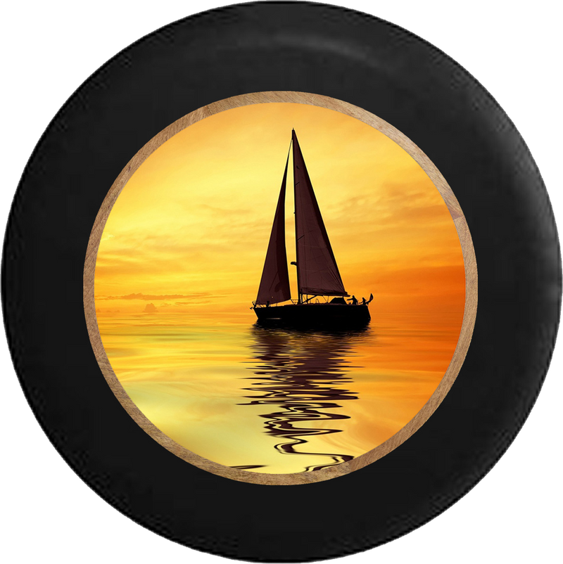 Sailboat at Sunset Ocean Salt Water Breeze RV Camper Spare Tire Cover-BLACK-CUSTOM SIZE/COLOR/INK - TireCoverPro