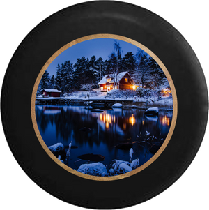 Lake Cottage in the Evening Winter Scene Jeep Camper Spare Tire Cover BLACK-CUSTOM SIZE/COLOR/INK- R212 - TireCoverPro