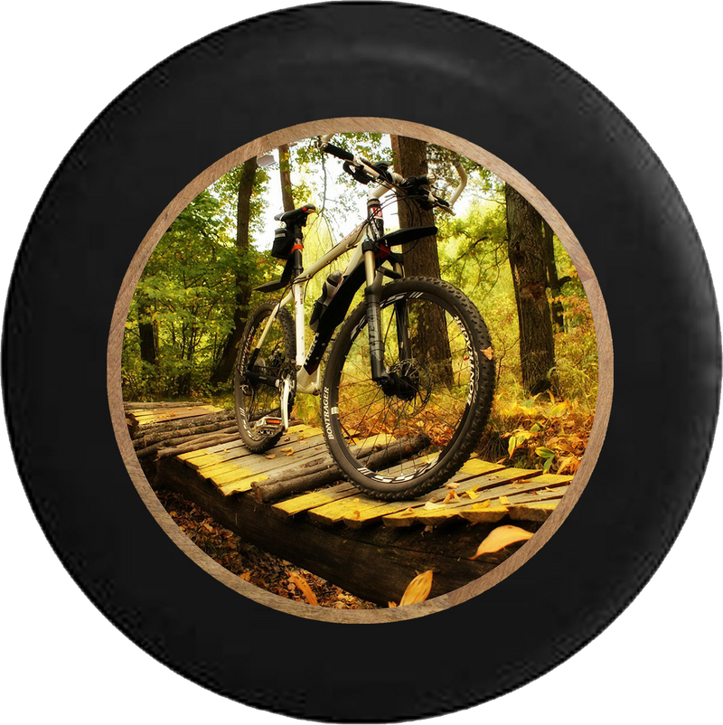 Mountain Bike on Log Wooden Bridge on the Trails Jeep Camper Spare Tire Cover BLACK-CUSTOM SIZE/COLOR/INK- R213 - TireCoverPro