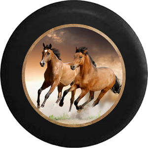 Galluping Brown & Tan Horses Jeep Camper Spare Tire Cover 35 inch R214