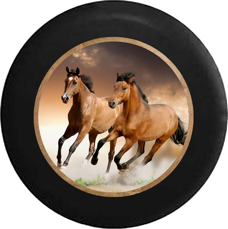Galluping Brown & Tan Horses Jeep Camper Spare Tire Cover BLACK-CUSTOM SIZE/COLOR/INK- R214 - TireCoverPro