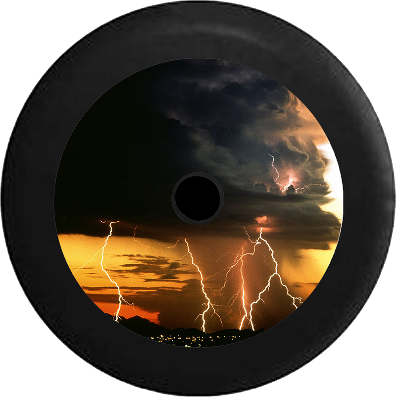 Jeep Wrangler JL Backup Camera Thunder Storm Lightning Strikes Night Sky Jeep Camper Spare Tire Cover 35 inch R215
