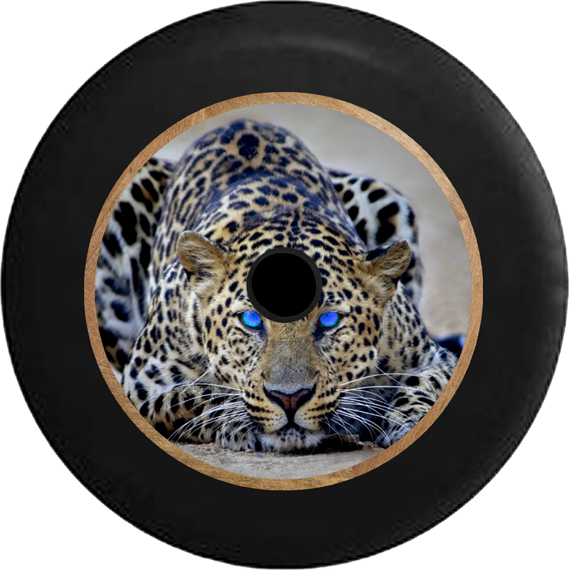 Jeep Wrangler JL Backup Camera Bright Blue Eyes on Leopard Cheetah Big Cat Jeep Camper Spare Tire Cover 35 inch R224