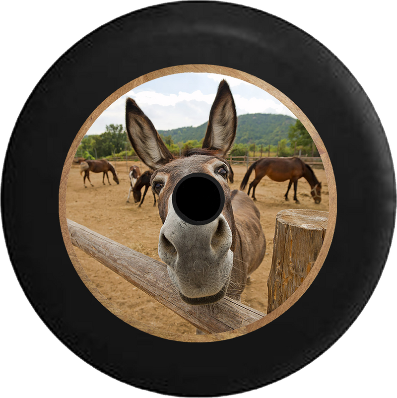 Jeep Wrangler JL Backup Camera Full Color Curious Donkey Mule Horse Looking over Split Log Fence Jeep Camper Spare Tire Cover 35 inch R231