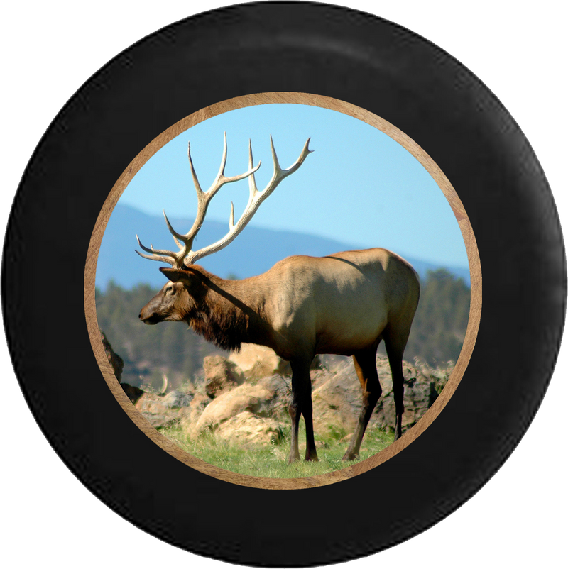 Elk with Monster Rack Hunting Big Game Scene Jeep Camper Spare Tire Cover 35 inch R234