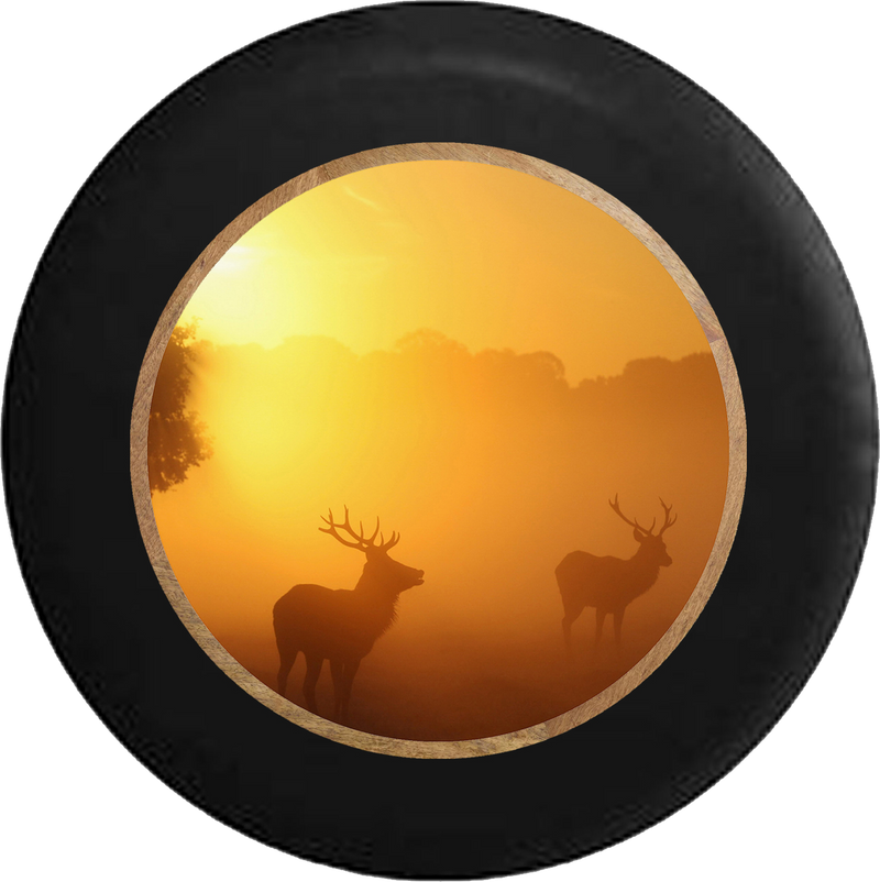 Deer Elk Big Rack Sunrise Early Morning Scene RV Camper Spare Tire Cover-BLACK-CUSTOM SIZE/COLOR/INK