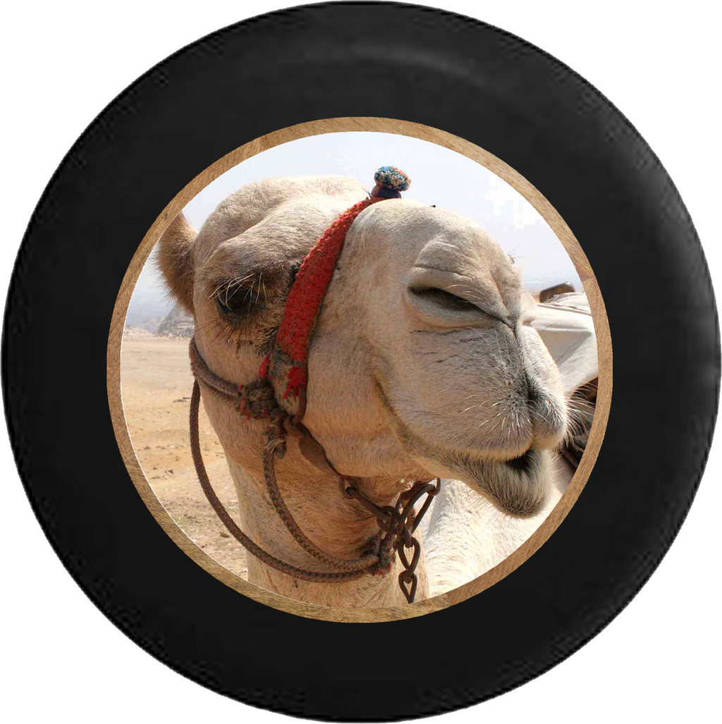 Desert Camel Closeup Jeep Camper Spare Tire Cover BLACK-CUSTOM SIZE/COLOR/INK- R240 - TireCoverPro