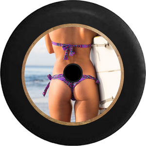 Jeep Wrangler JL Backup Camera Sexy Bikini Surfer Girl at the Beach Rear View Jeep Camper Spare Tire Cover 35 inch R241