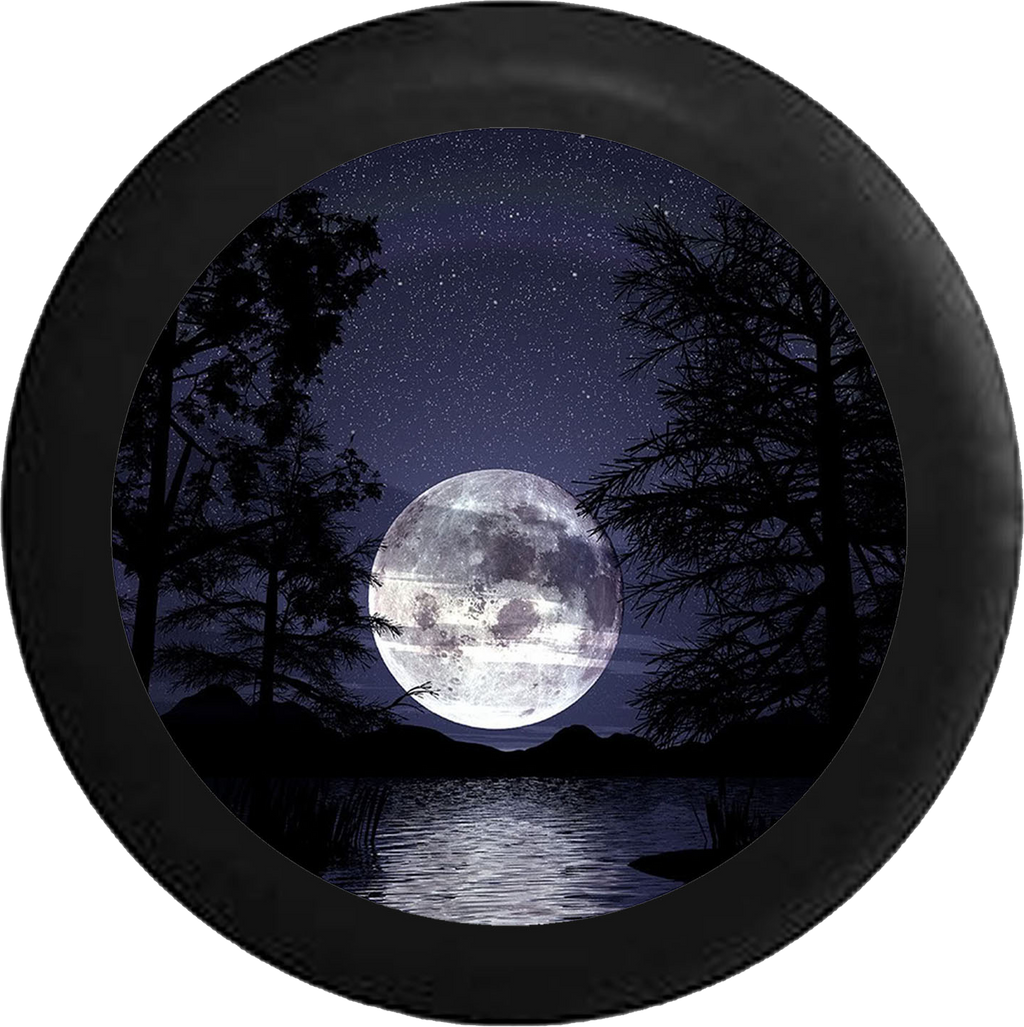 Full Moon in the Night Sky over the Ocean Jeep Camper Spare Tire Cover 35 inch R243