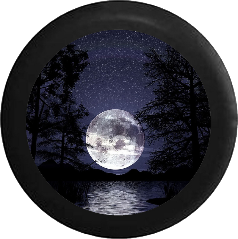 Full Moon in the Night Sky over the Ocean Jeep Camper Spare Tire Cover BLACK-CUSTOM SIZE/COLOR/INK- R243 - TireCoverPro