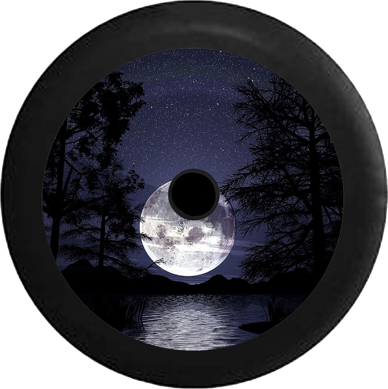 Jeep Wrangler JL Backup Camera Full Moon in the Night Sky over the Ocean Jeep Camper Spare Tire Cover 35 inch R243