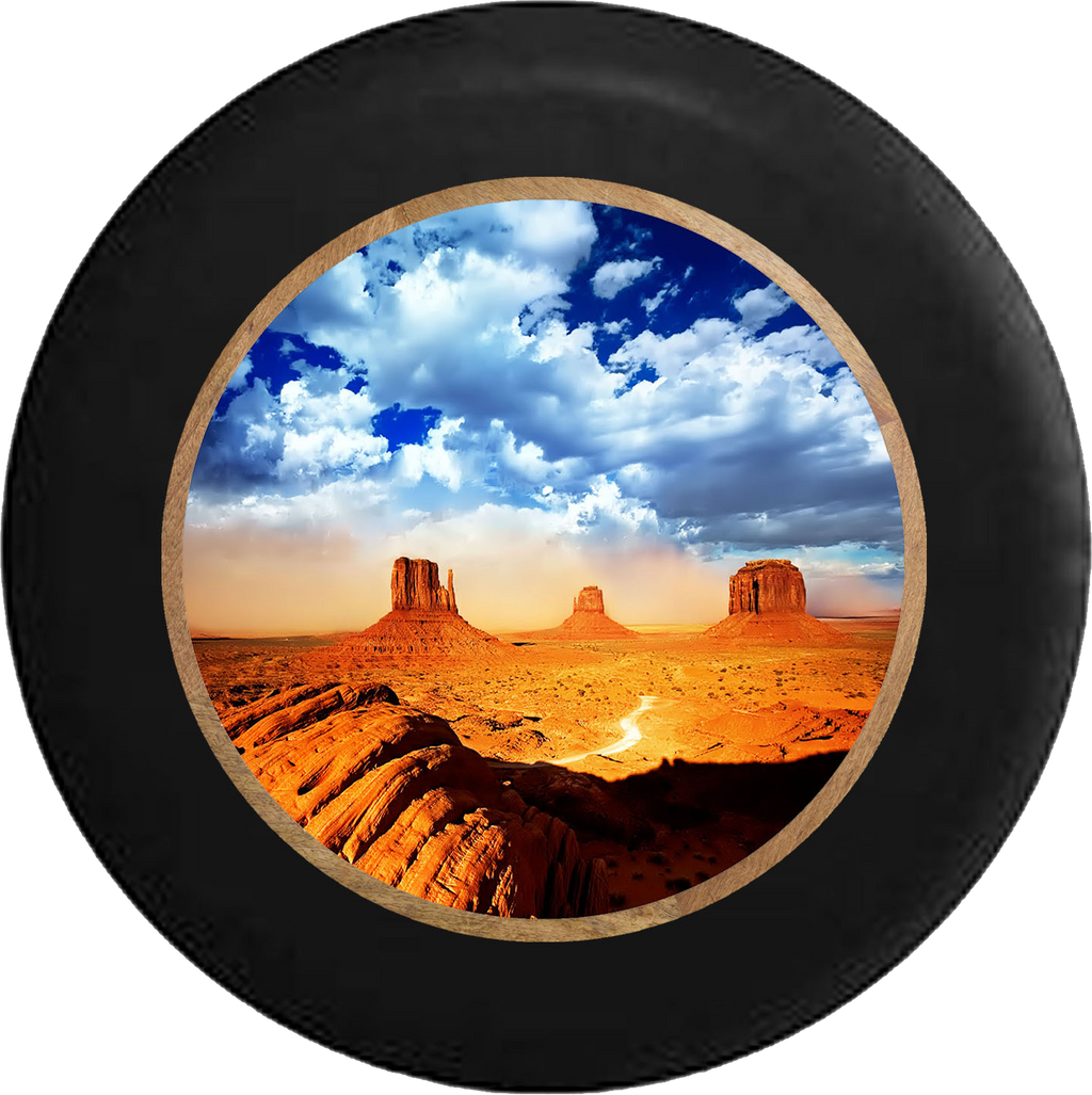 Desert Plateau Blue Sky Oasis Jeep Camper Spare Tire Cover BLACK-CUSTOM SIZE/COLOR/INK- R245 - TireCoverPro