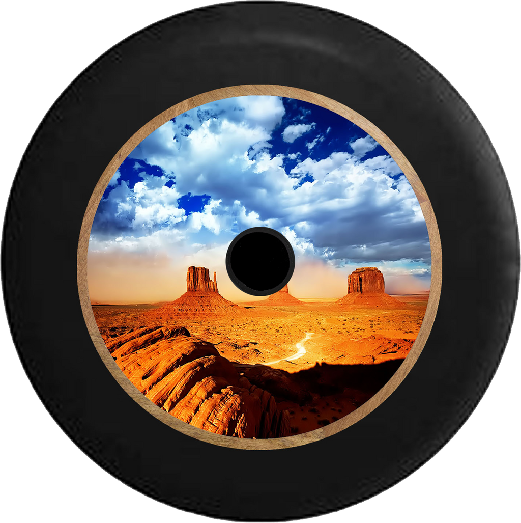 Jeep Wrangler JL Backup Camera Desert Plateau Blue Sky Oasis Jeep Camper Spare Tire Cover 35 inch R245