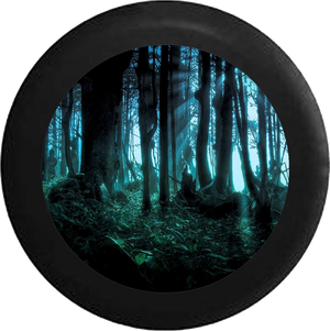 Sunlight through the Trees in Forest Nature RV Camper Spare Tire Cover-BLACK-CUSTOM SIZE/COLOR/INK - TireCoverPro
