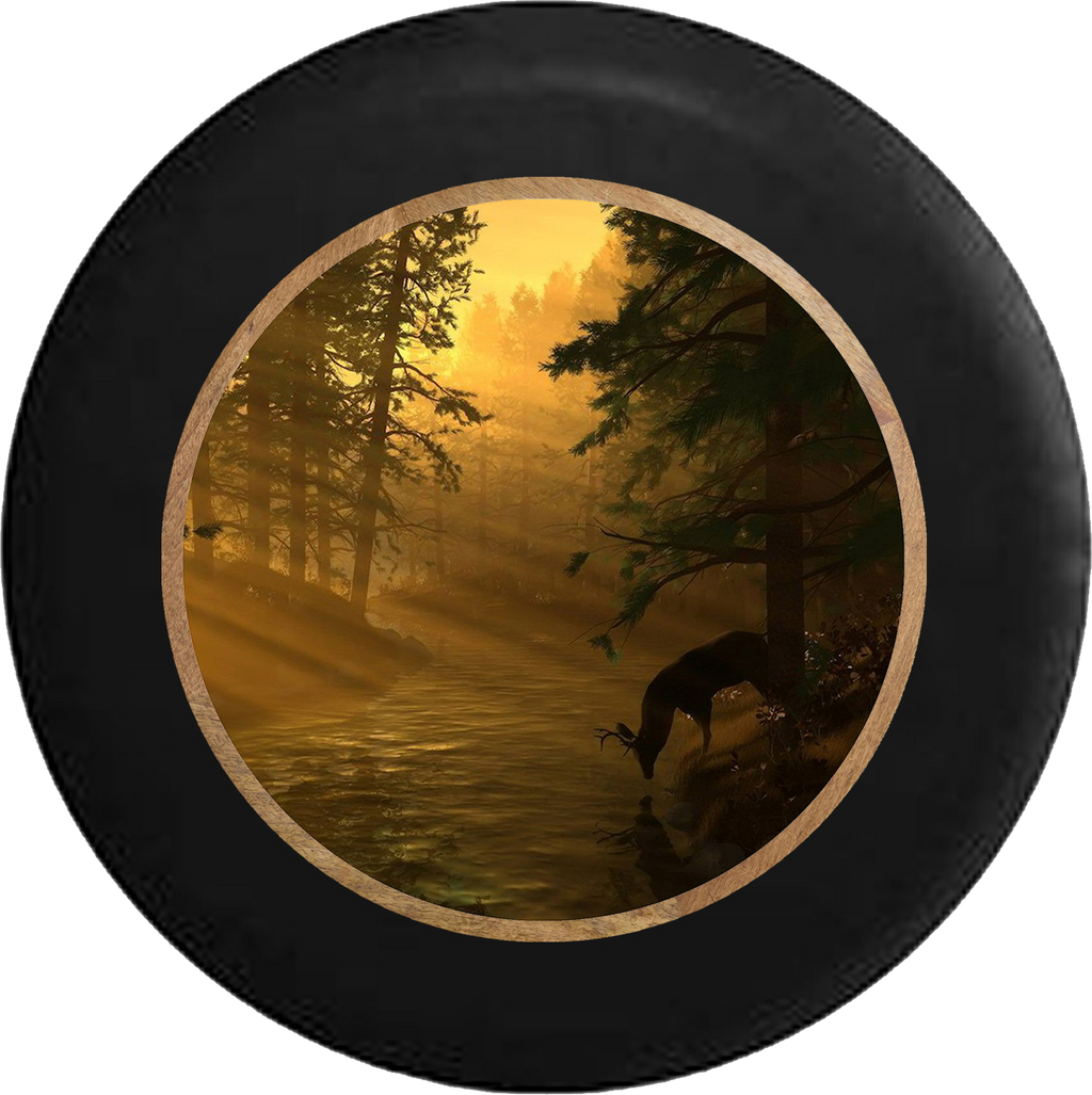 Big Buck Deer Drinking from River Tree line RV Camper Spare Tire Cover-BLACK-CUSTOM SIZE/COLOR/INK - TireCoverPro