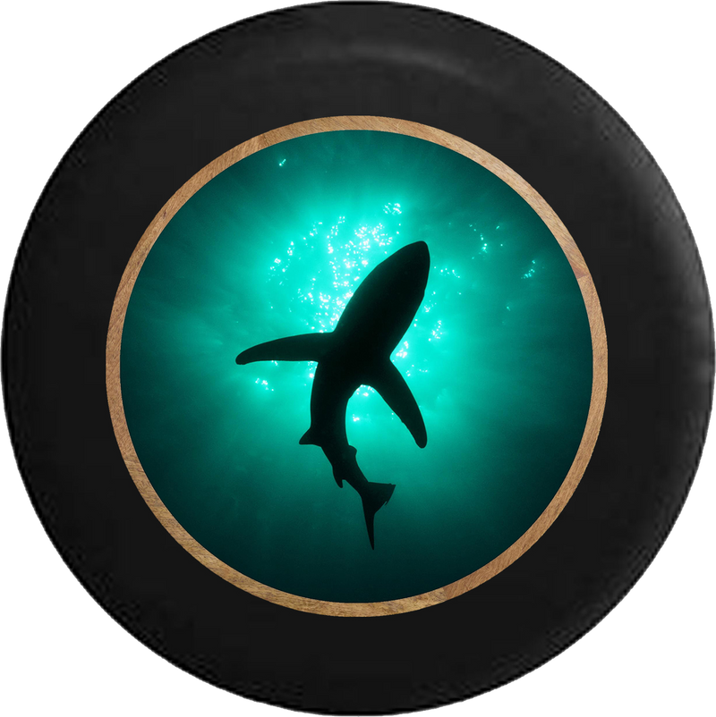 Shark Silhouette in the Ocean Great White Tiger Jeep Camper Spare Tire Cover BLACK-CUSTOM SIZE/COLOR/INK- R264 - TireCoverPro