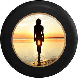 Jeep Liberty Spare Tire Cover With A Sexy Lady at The Beach (Liberty 02-12)