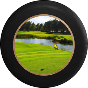 Golf Course Greens Water Hazard Hole in One! Jeep Camper Spare Tire Cover 35 inch R272