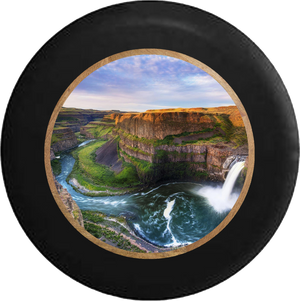 Canyon Waterfall Horseshoe Cove Jeep Camper Spare Tire Cover BLACK-CUSTOM SIZE/COLOR/INK- R274 - TireCoverPro