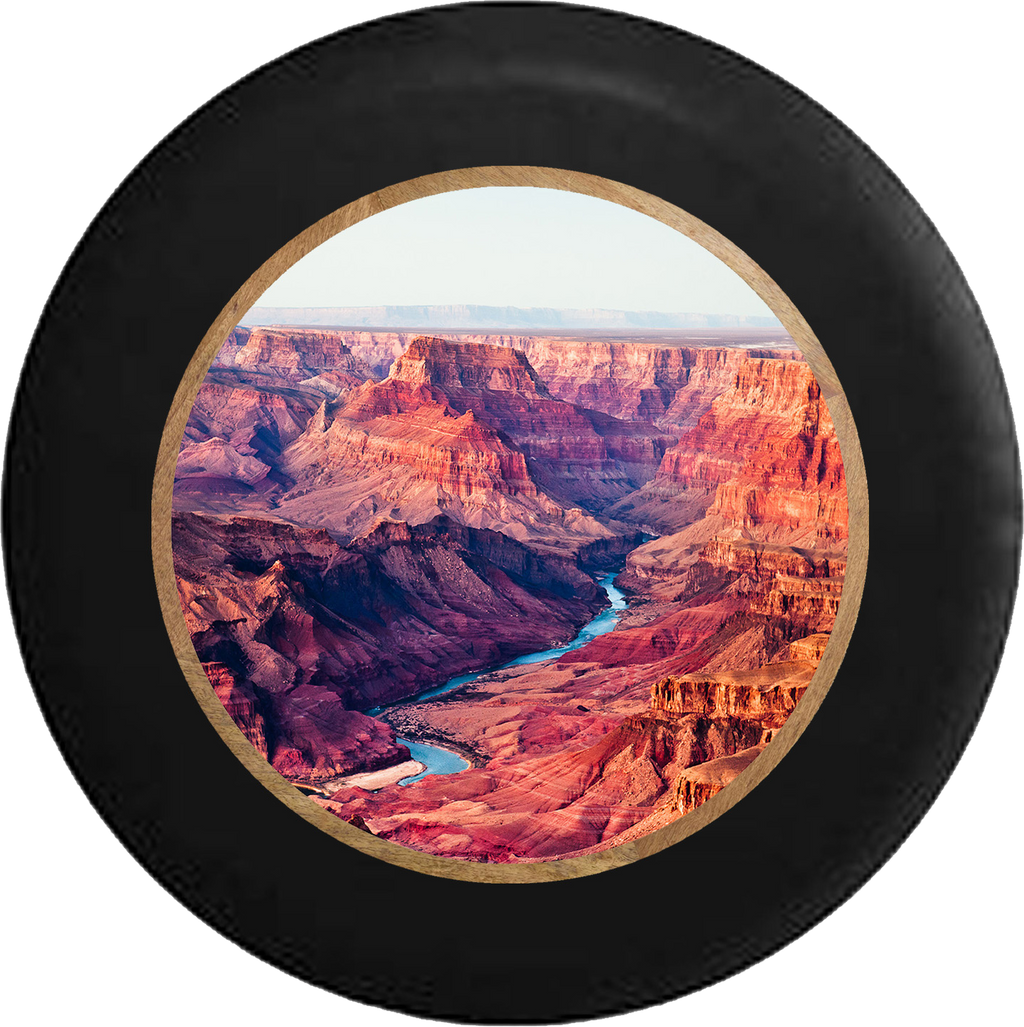 Grand Canyon River Valley  RV Camper Spare Tire Cover-BLACK-CUSTOM SIZE/COLOR/INK - TireCoverPro