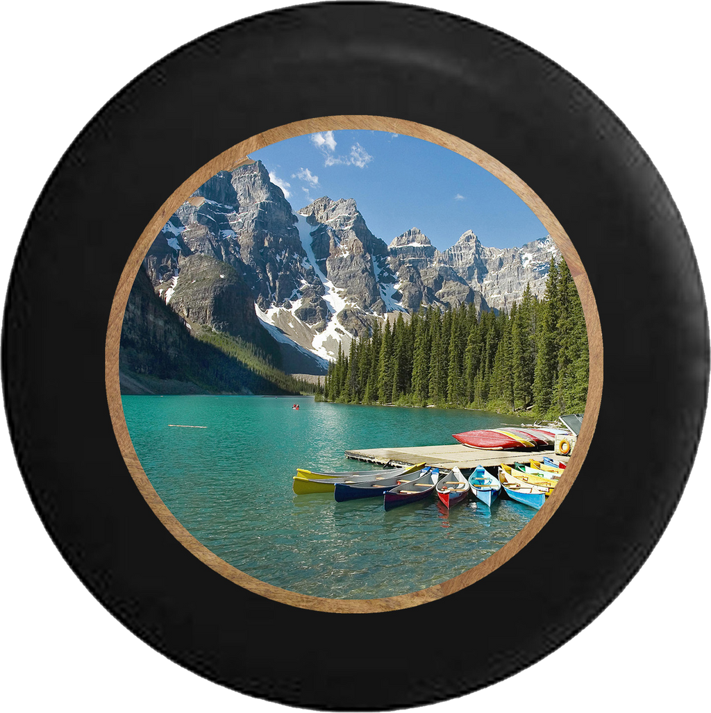 Great National Park Mountainside Canoing Dock Jeep Camper Spare Tire Cover 35 inch R277