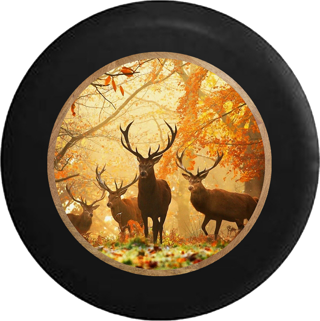 Herd of Deer American Whitetail Buck Antlers RV Camper Spare Tire Cover-BLACK-CUSTOM SIZE/COLOR/INK - TireCoverPro
