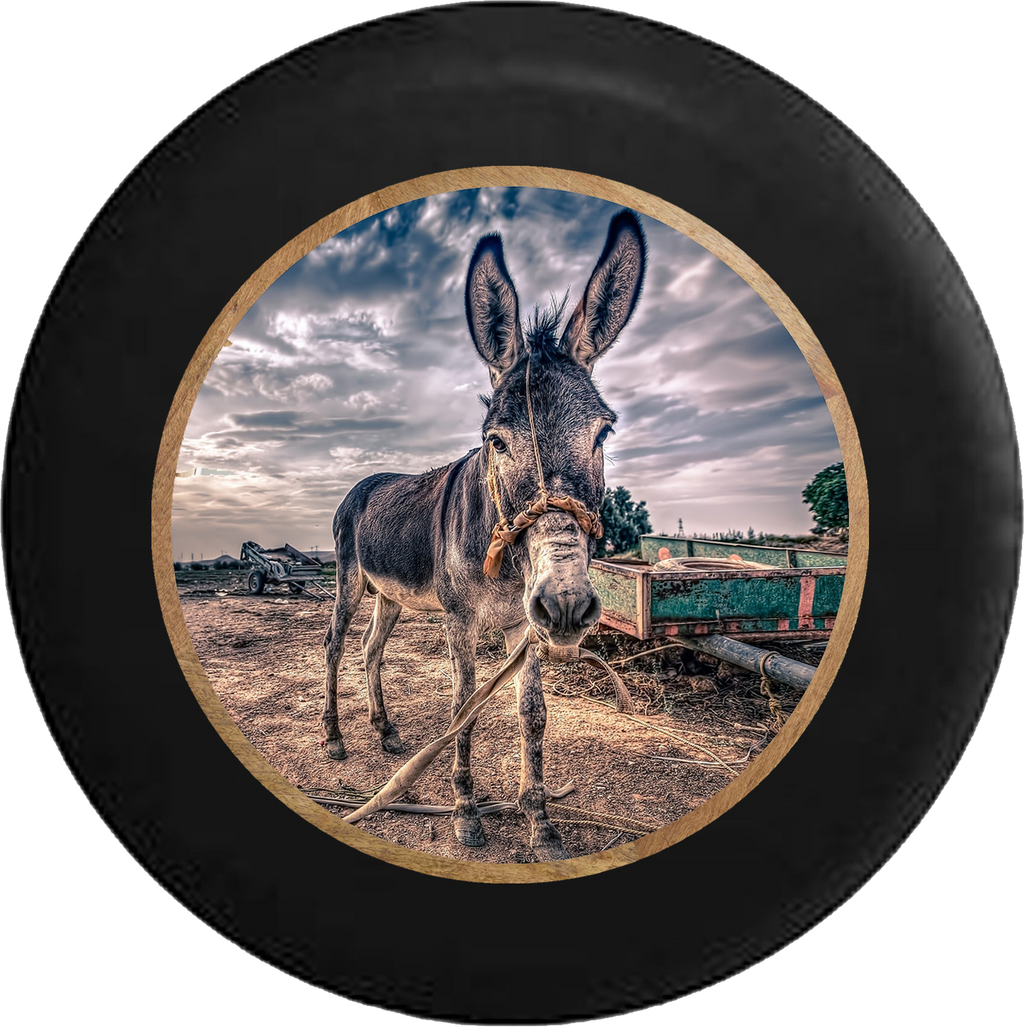 Donkey Mule in the Pasture Beautiful Country  RV Camper Spare Tire Cover-BLACK-CUSTOM SIZE/COLOR/INK - TireCoverPro