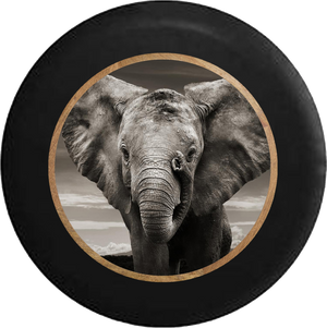 Grey Elephant Closeup - Gentle Giant Jeep Camper Spare Tire Cover 35 inch R296