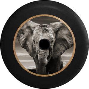 Jeep Wrangler JL Backup Camera Grey Elephant Closeup - Gentle Giant Jeep Camper Spare Tire Cover 35 inch R296