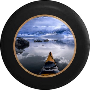 Alaska Sea Kayak in the Ocean Peaceful Serenity Jeep Camper Spare Tire Cover BLACK-CUSTOM SIZE/COLOR/INK- R298 - TireCoverPro