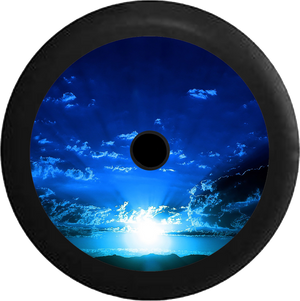 Jeep Wrangler JL Backup Camera Blue Sky and Clouds Sunrise Sunset Beaming Light Jeep Camper Spare Tire Cover 35 inch R308