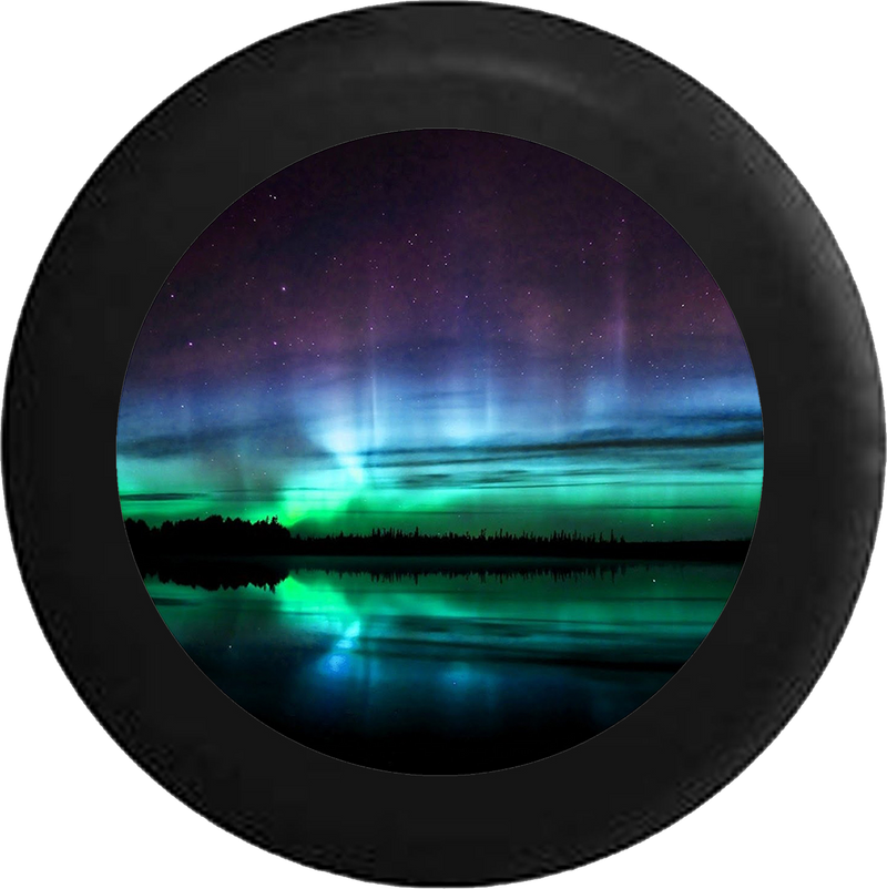 Colorful Night Sky Reflection in Lake RV Camper Spare Tire Cover-BLACK-CUSTOM SIZE/COLOR/INK - TireCoverPro